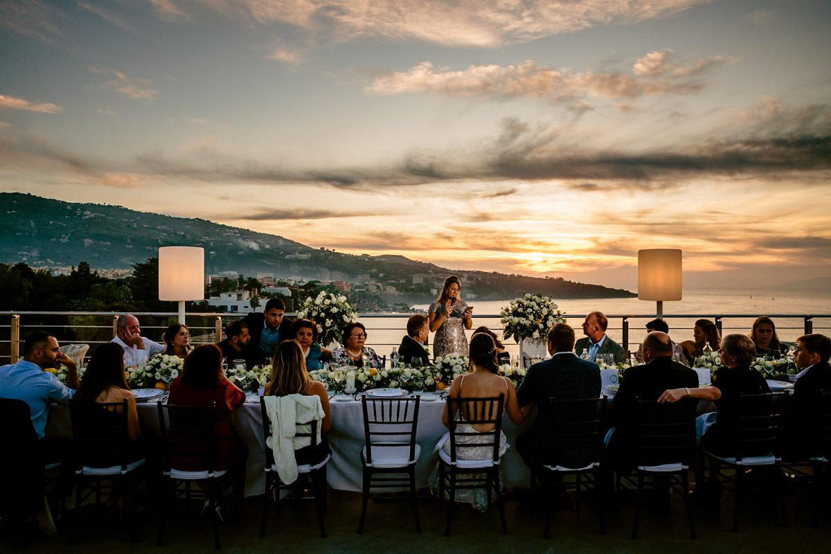 Outdoor sunset wedding dinner at Little Palm Island, Florida Keys.