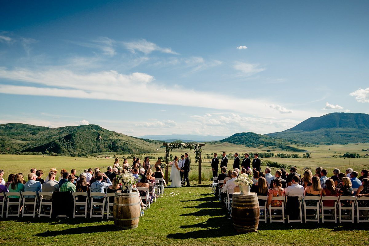 Outdoor wedding near mountains in Steamboat Springs, Colorado.