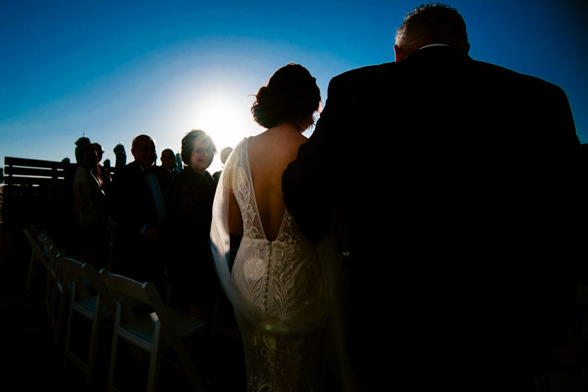 Bride Walks Down Aisle In Key West, Florida At Ocean Resort