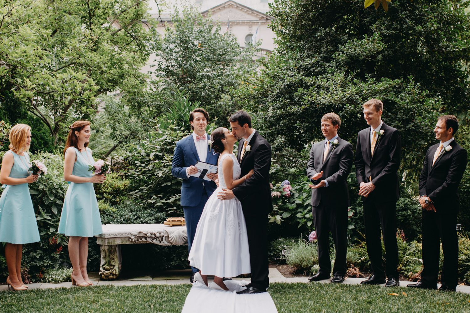 Couple Kiss After Being Announced Bridge and Groom