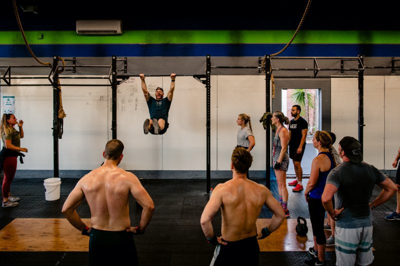 People working out in a crossfit gym for a commercial photoshoot
