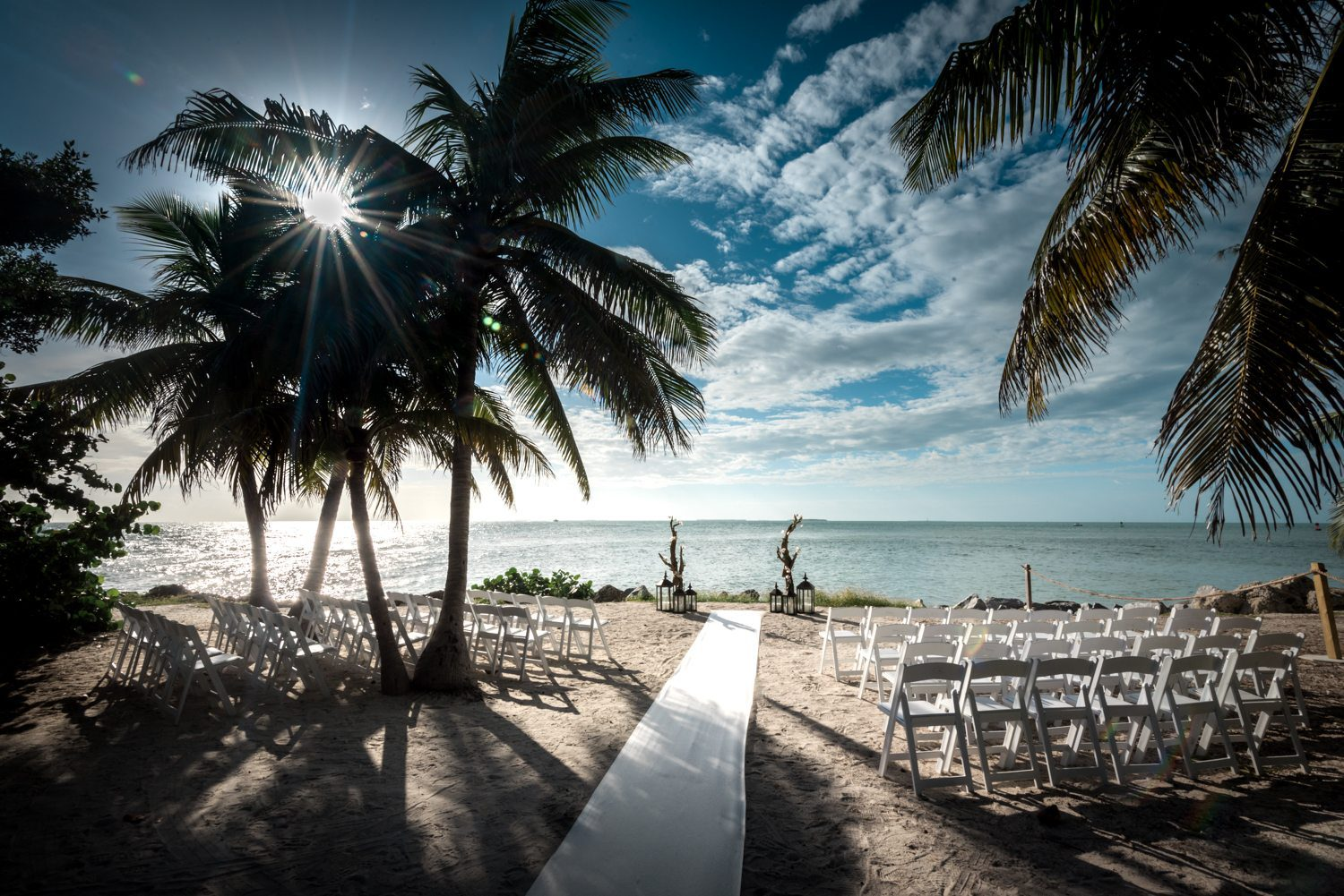 aisle and chairs of wedding at fort zachary taylor