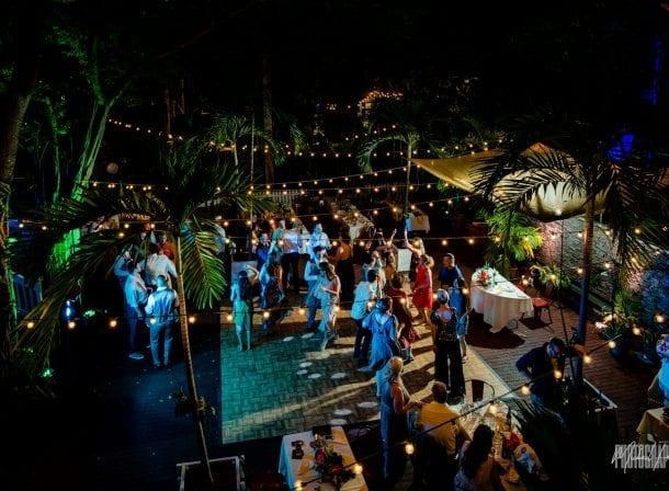 Overhead shot of first flight brewery wedding reception