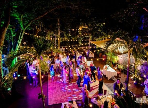 Overhead shot of first flight brewery wedding reception dancing