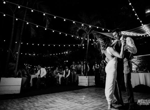 Newlyweds dancing at their wedding reception at first flight brewery in key west