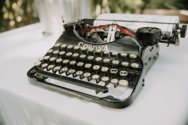 Typewriter on display at hemingway house in key west