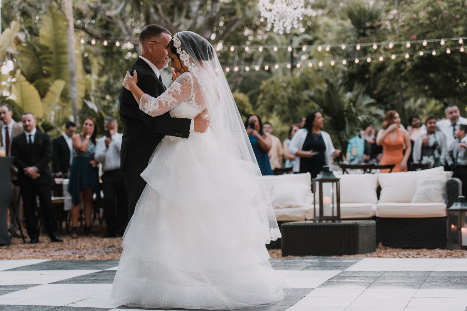bride and groom during their first dance during wedding reception at hemingway house