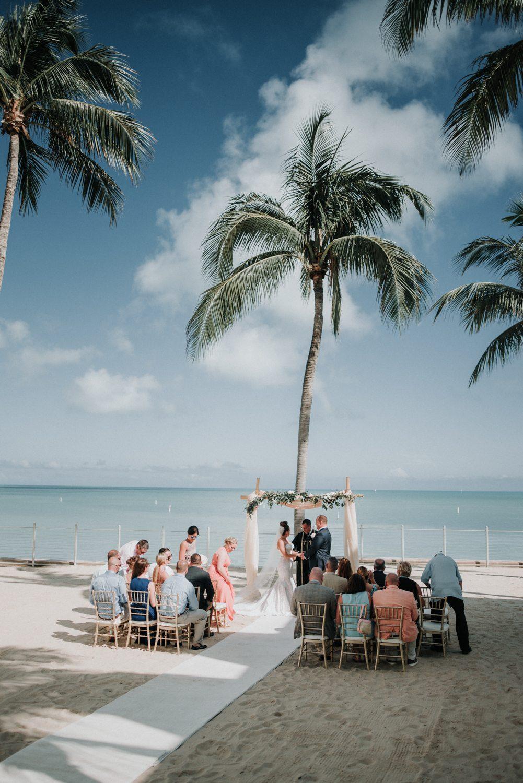 aerial shot of beach wedding