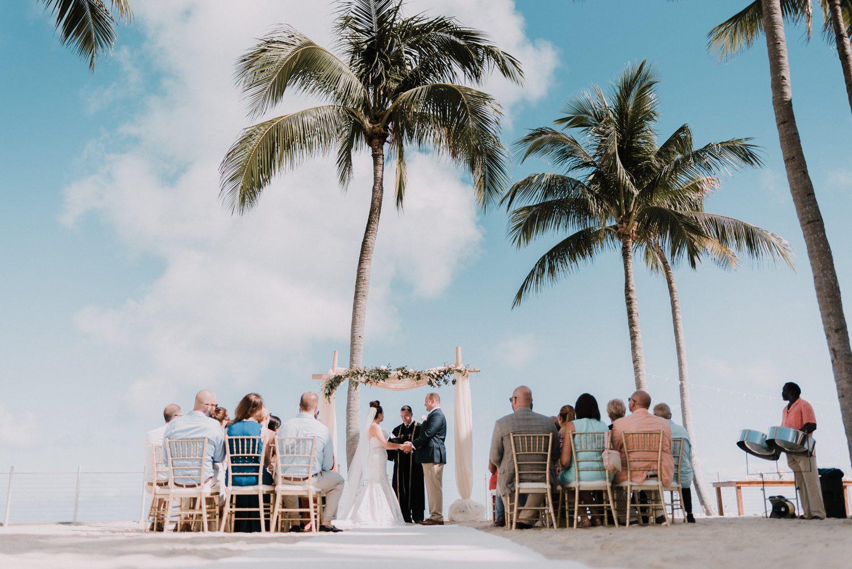 far away shot of wedding at southernmost beach resort