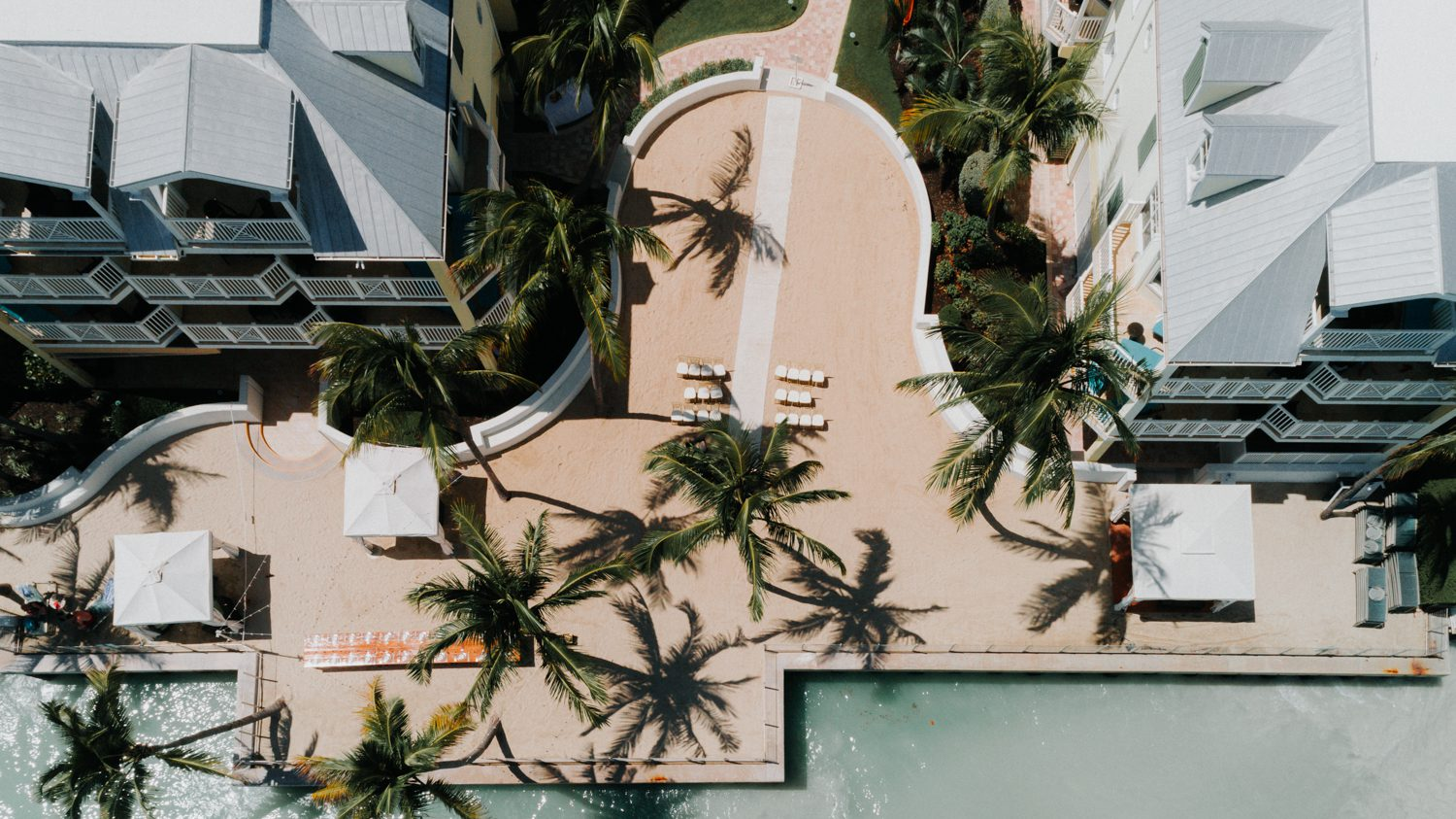 drone shot of southern most beach resort