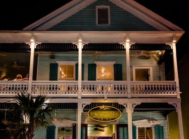 Front of the restaurant bagatelle in key west