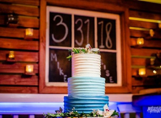 3 tiered wedding cake at wedding reception