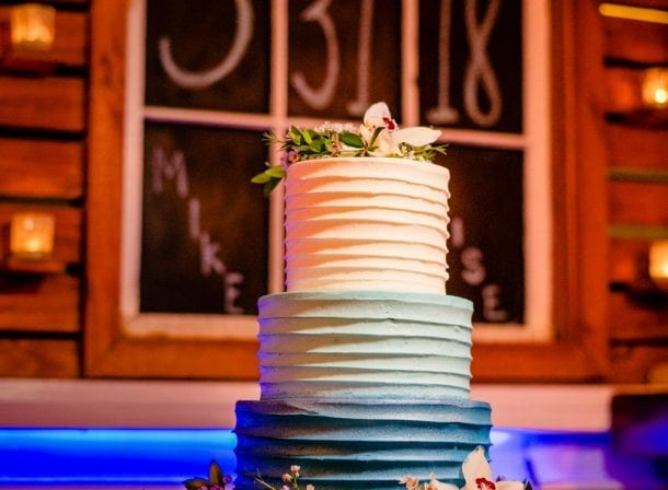 3-tiered wedding cake at a reception