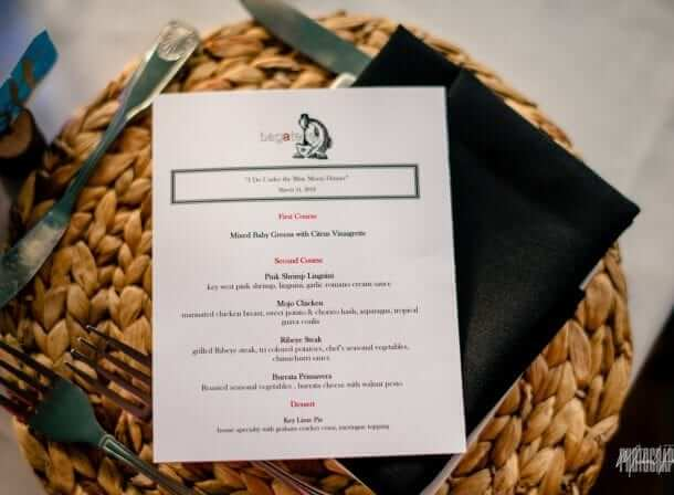 Menu for wedding reception at bagatelle key west