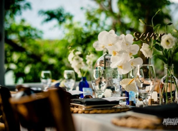 Table setting at wedding reception at bagatelle key west