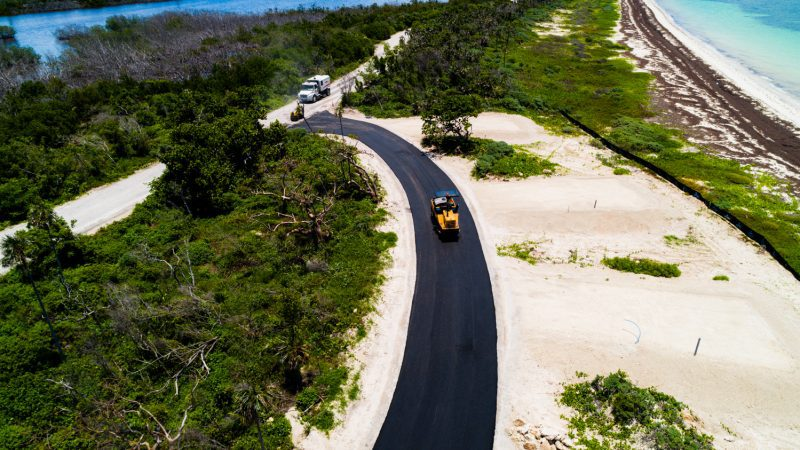 Car driving on a sandy road in the florida keys