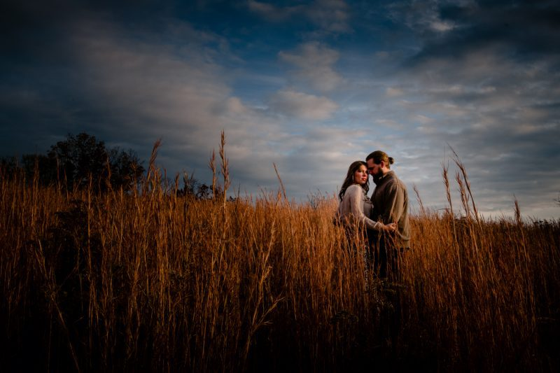 Couple holding hands during an engagement photoshoot in a meadow in Asheville