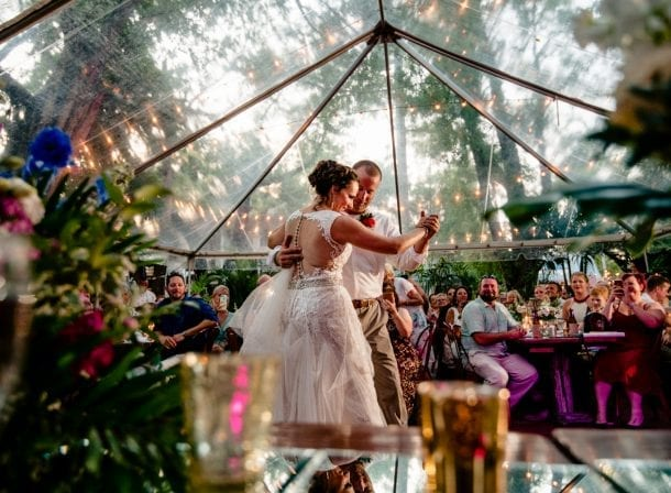 Bride and groom dancing at first flight brewery in key west