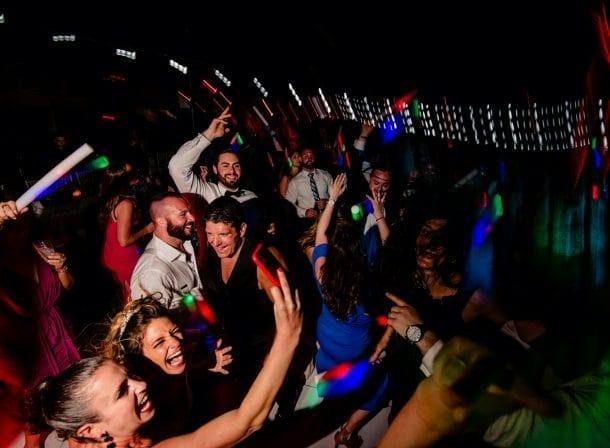 People dancing at a miami wedding reception