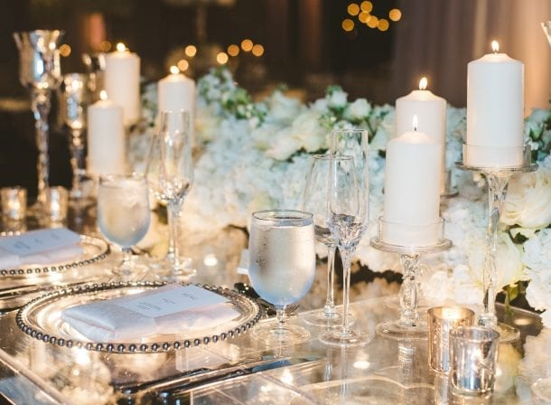 Table decorations of a miami wedding reception