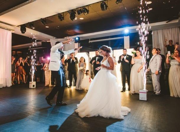 Bride giving a speech at her wedding reception