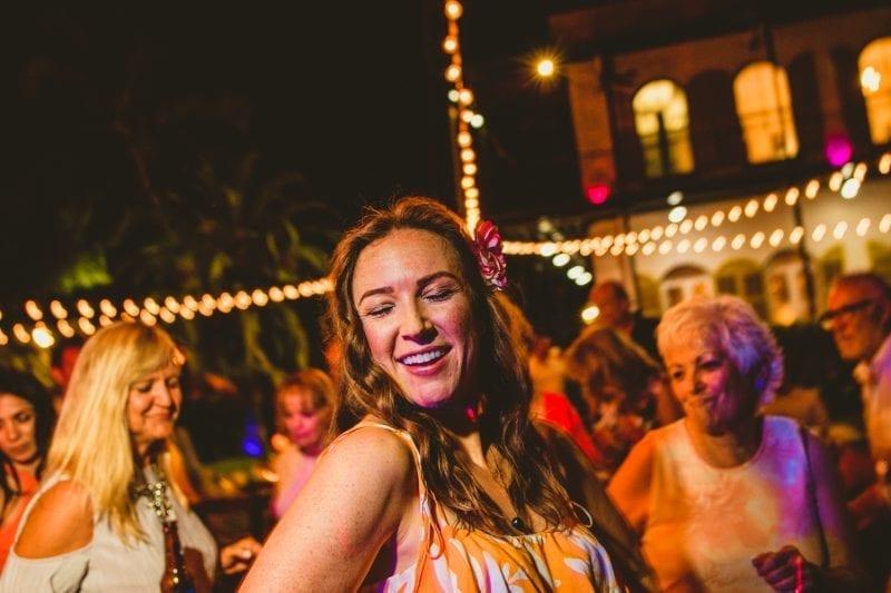 Woman dancing at a wedding reception