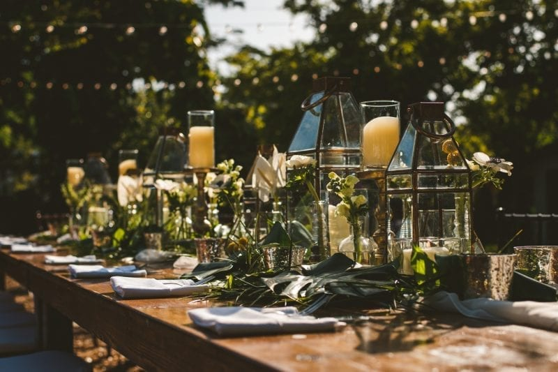 Table setting for wedding reception at hemingway house in key west