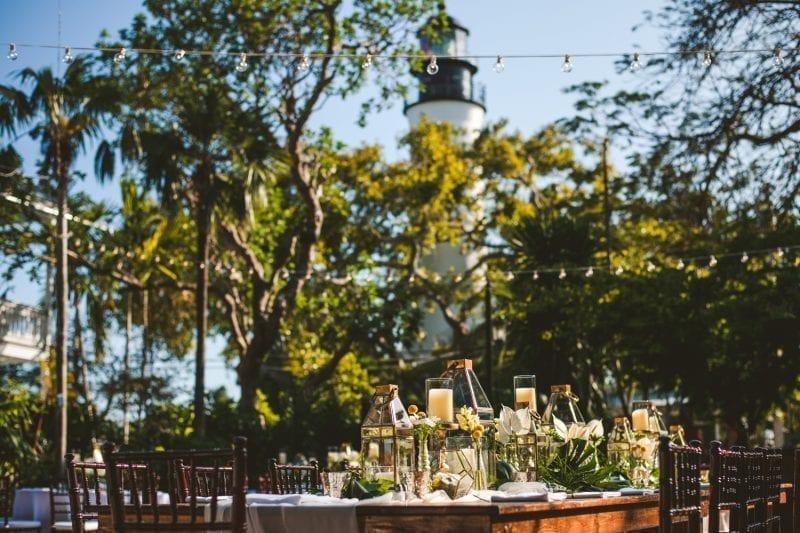 Table setting for wedding reception at hemingway house in key west view 3