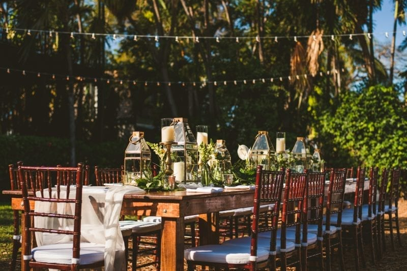 Table setting for wedding reception at hemingway house in key west view 4