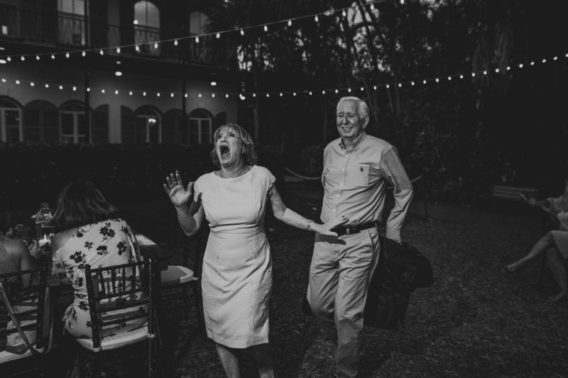 Bride and her father dancing at wedding reception at hemingway house