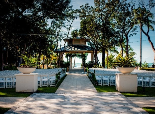 The front of a wedding ceremony set up with chairs