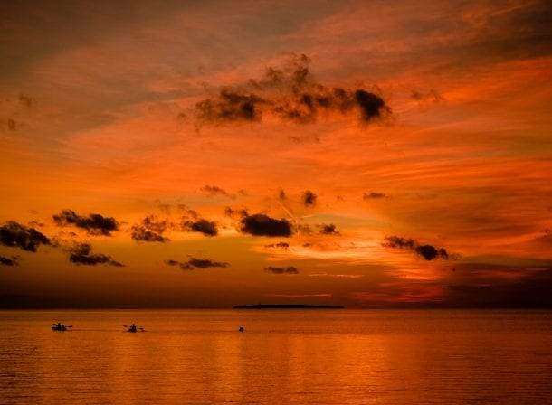 Sky at sunset in playa largo