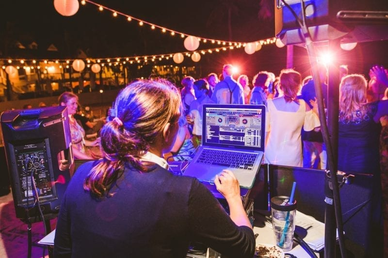 DJ playing for a wedding reception at southernmost beach resort