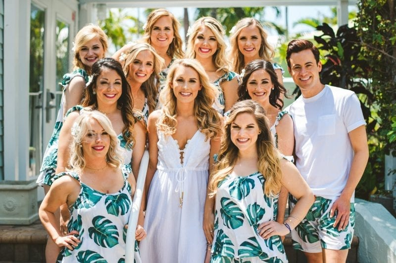 bride and her bridesmaids portrait at southernmost beach resort