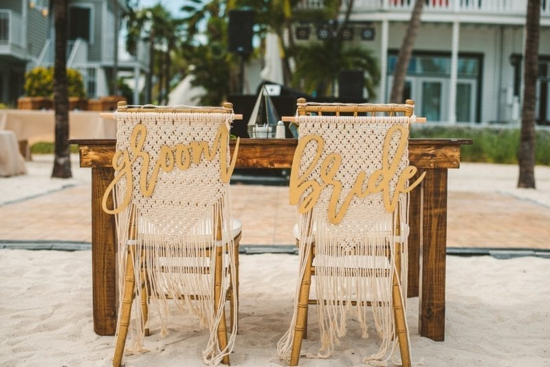wedding table chairs at southernmost beach resort