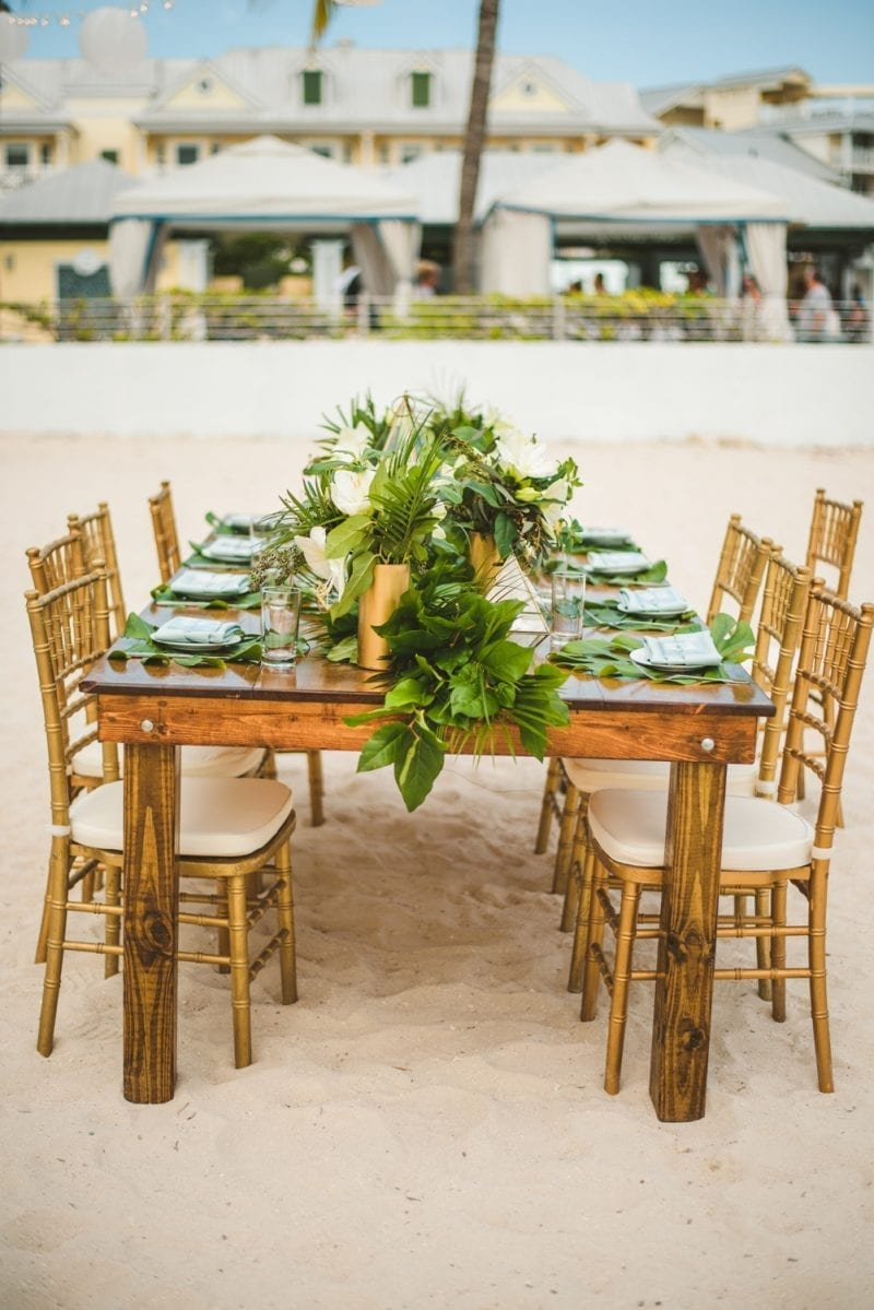 apple decorated for wedding reception at southernmost beach resort