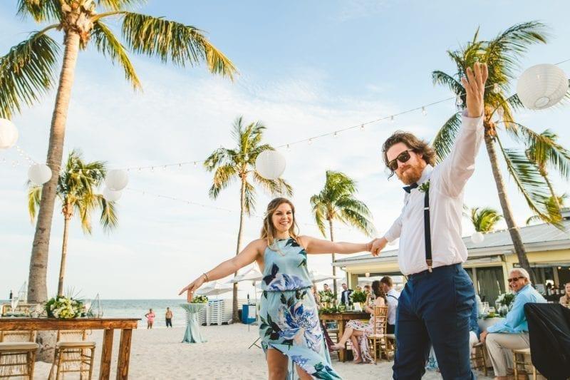 bridal party dancing at beach wedding at southernmost beach resort