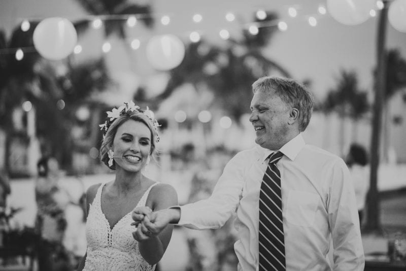 bride dancing with her father during wedding reception at southernmost beach resort