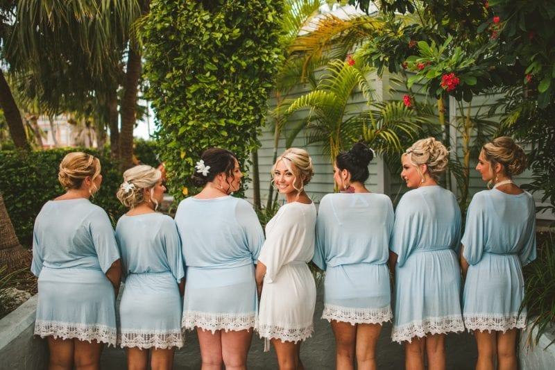 bride and bridesmaids posing for a portrait