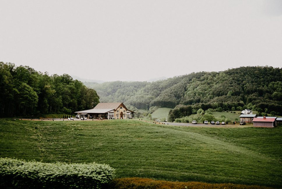 Green hill and farm wedding venue at the ridge.