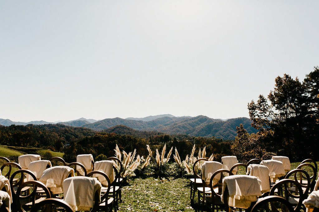 Chairs set out for a wedding at the Ridge in Marshall NC.