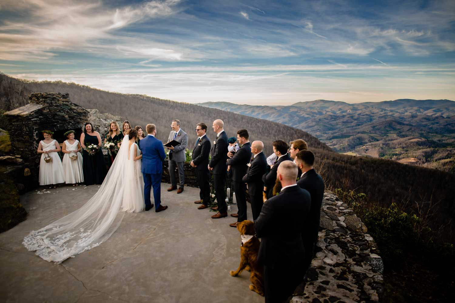 over-head view of a mountain wedding