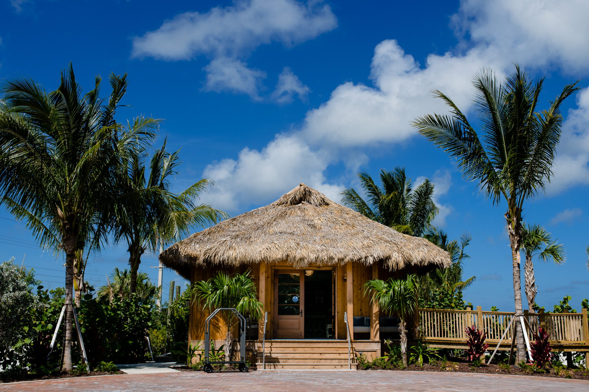 straw hut surrounded by palm trees on palm island in key west