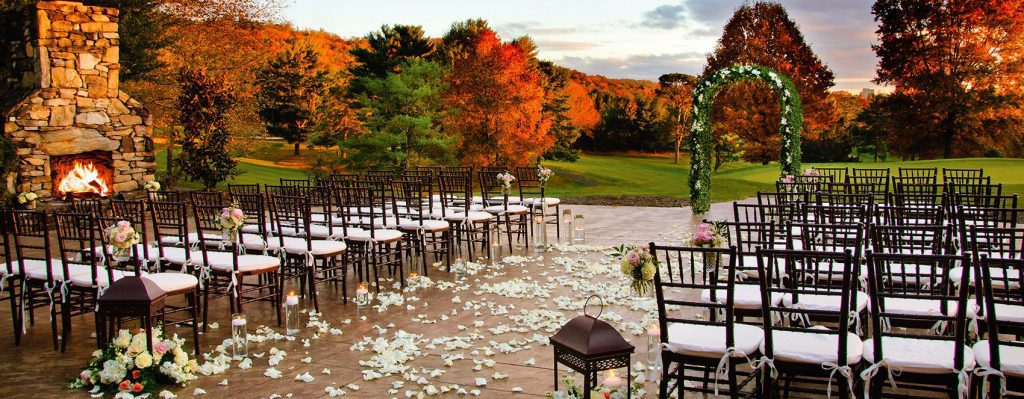 Chairs set up for an outdoor wedding at omni grove park.