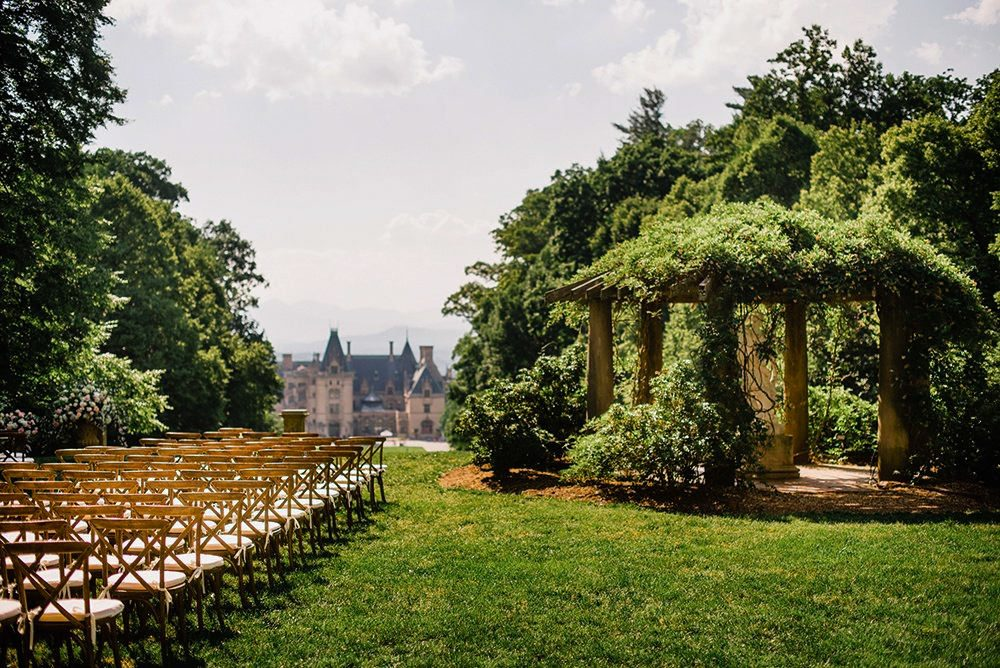 Trees surrounding the outdoor wedding venue at the Biltmore estate.