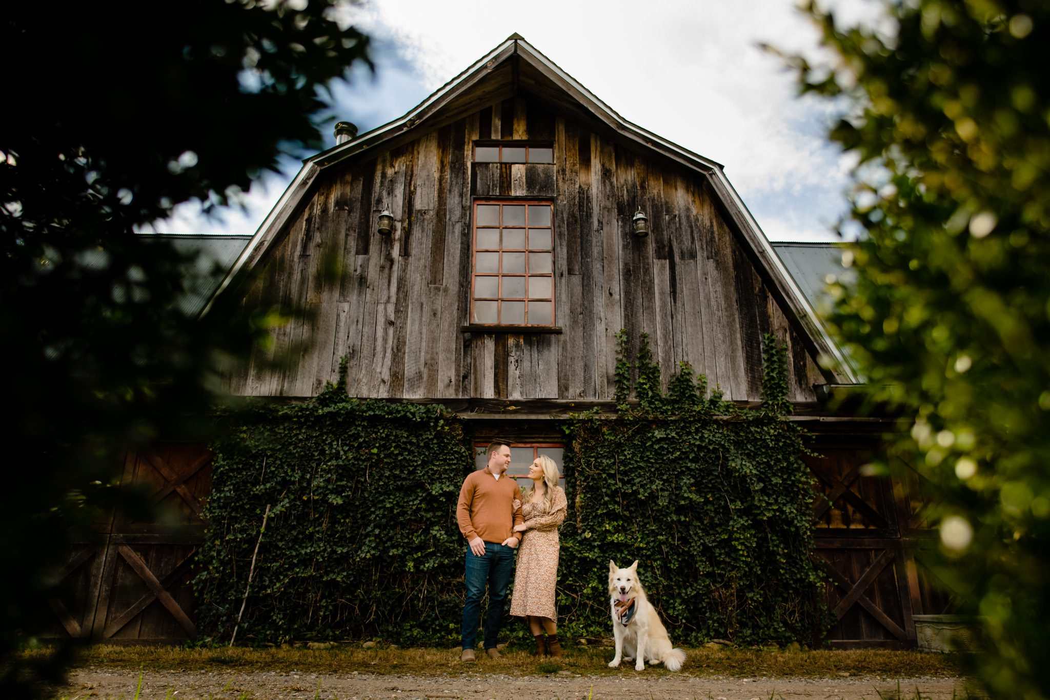 Couple standing with their dog in front of a bar at the vinyards at betty creek in sylva nc.