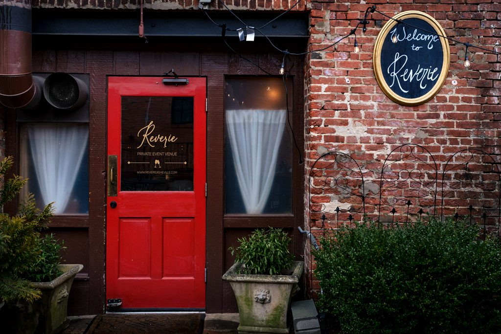 front door of reverie asheville wedding event venue