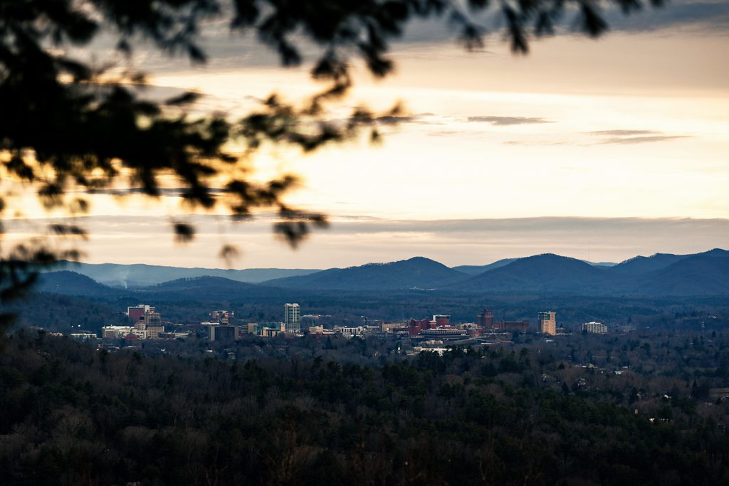 view of downtown asheville from elk mountain
