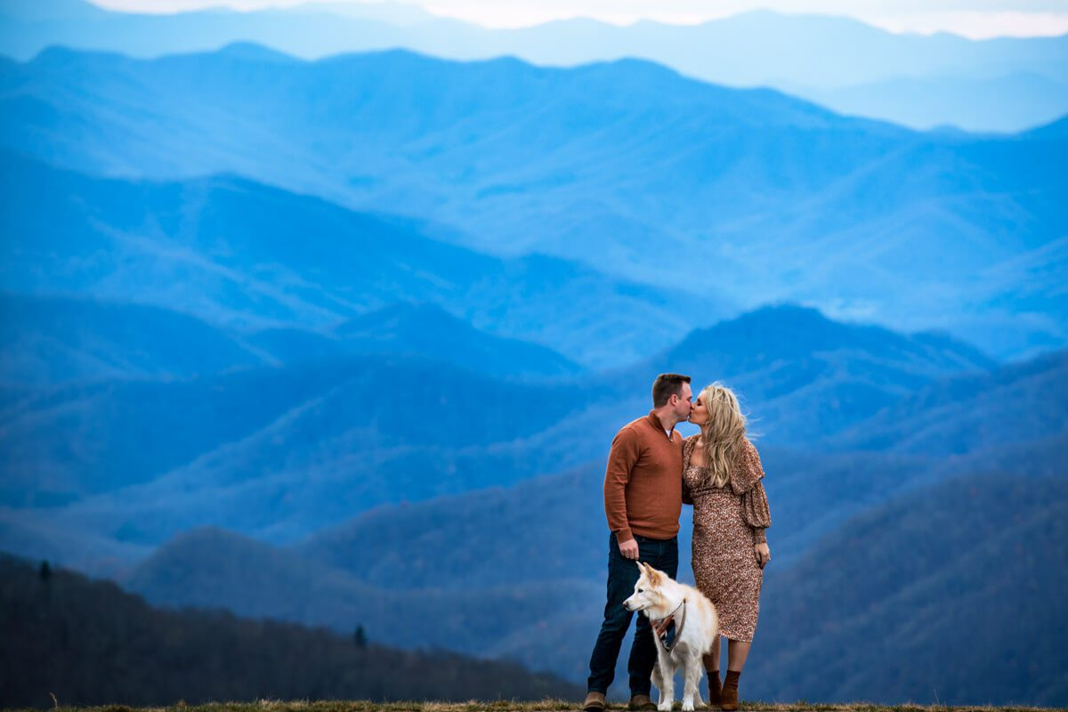 Engagement photo session with a couple and their dog in the Asheville NC Mountains