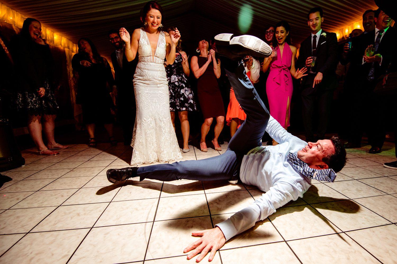wedding guest dancing on floor at ocean key wedding in key west